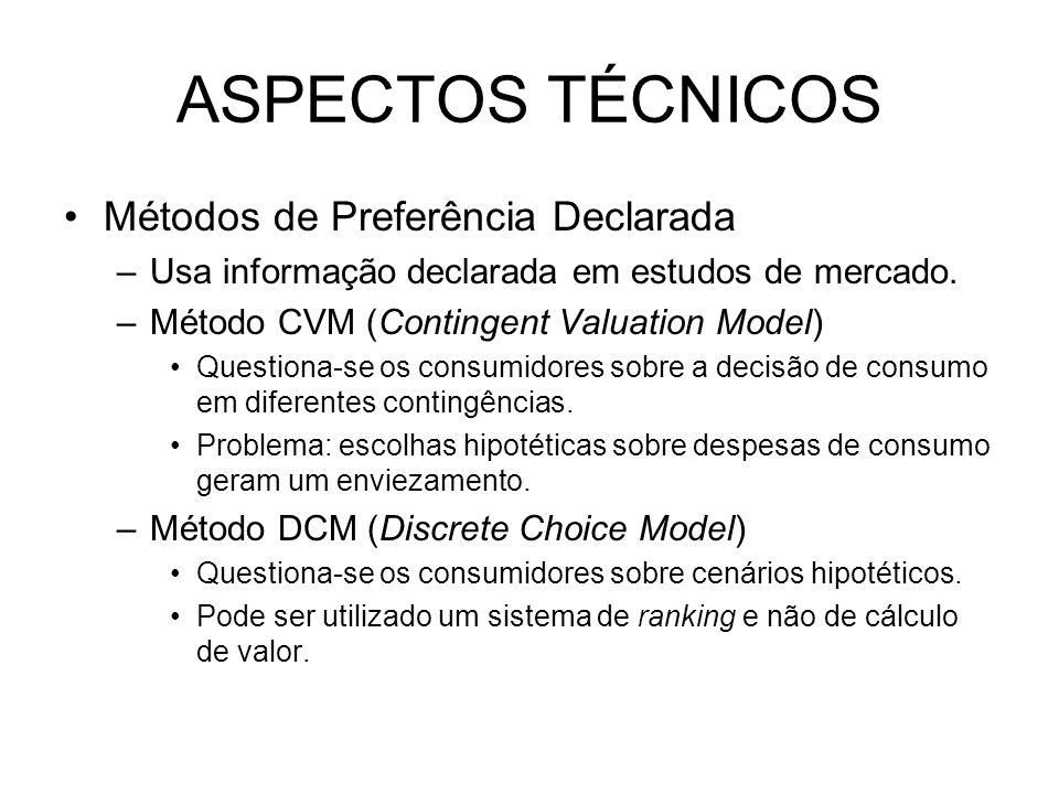 ASPECTOS TÉCNICOS Métodos de Preferência Declarada