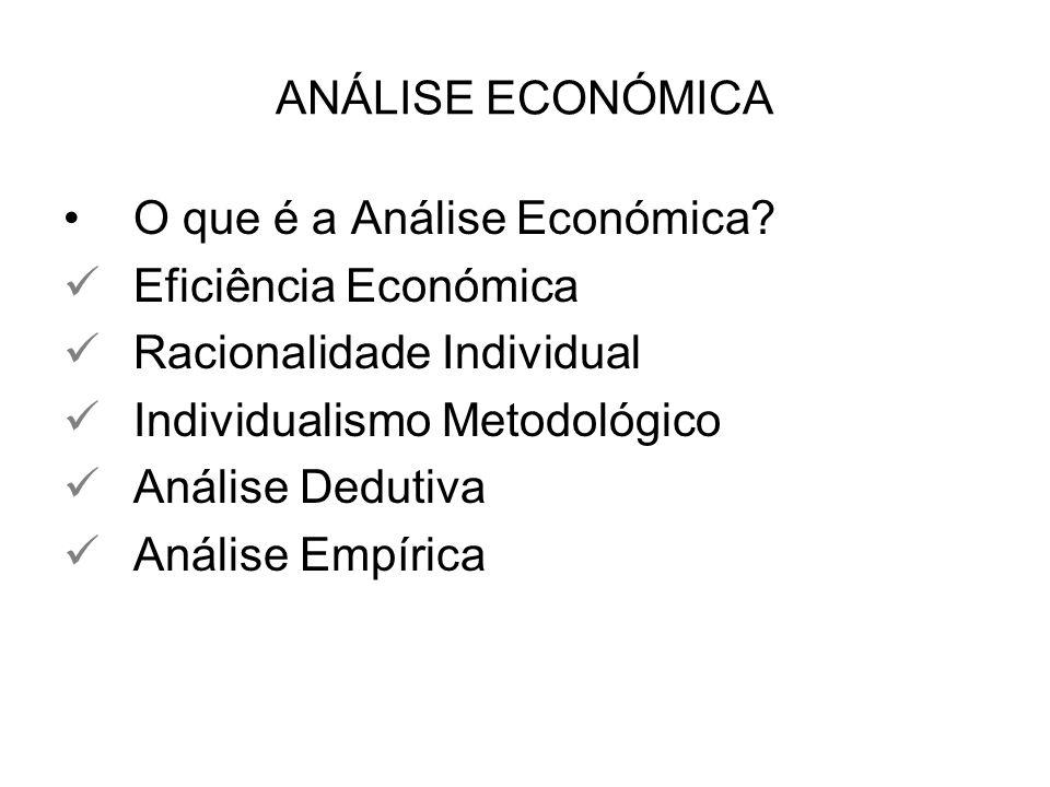 ANÁLISE ECONÓMICA O que é a Análise Económica Eficiência Económica. Racionalidade Individual. Individualismo Metodológico.
