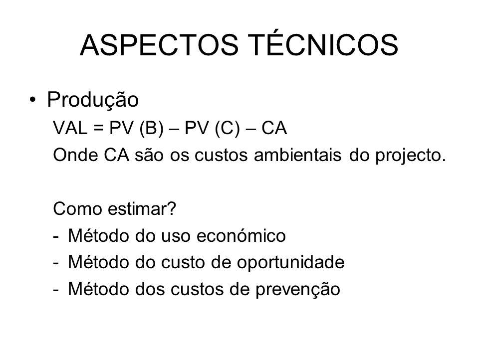 ASPECTOS TÉCNICOS Produção VAL = PV (B) – PV (C) – CA