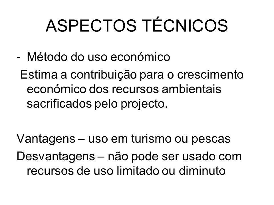 ASPECTOS TÉCNICOS Método do uso económico