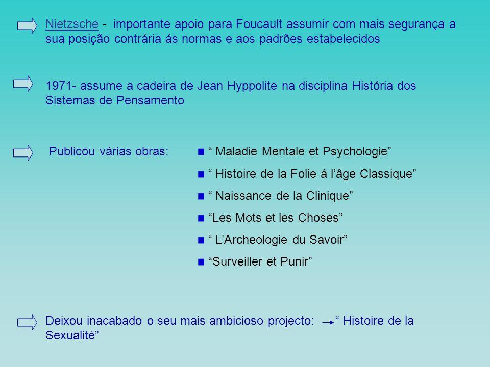 Nietzsche - importante apoio para Foucault assumir com mais segurança a sua posição contrária ás normas e aos padrões estabelecidos
