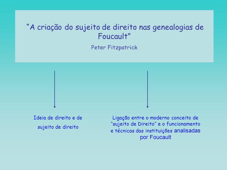 A criação do sujeito de direito nas genealogias de Foucault