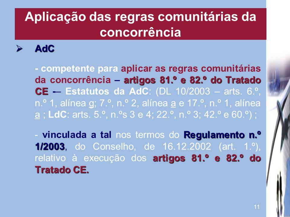 Aplicação das regras comunitárias da concorrência
