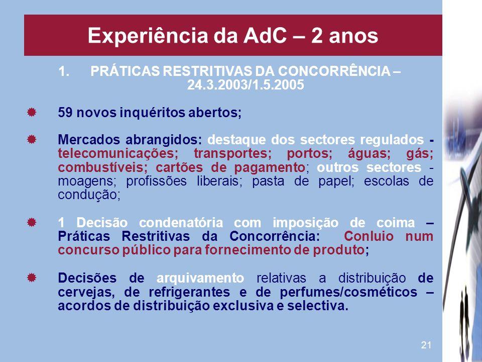 Experiência da AdC – 2 anos