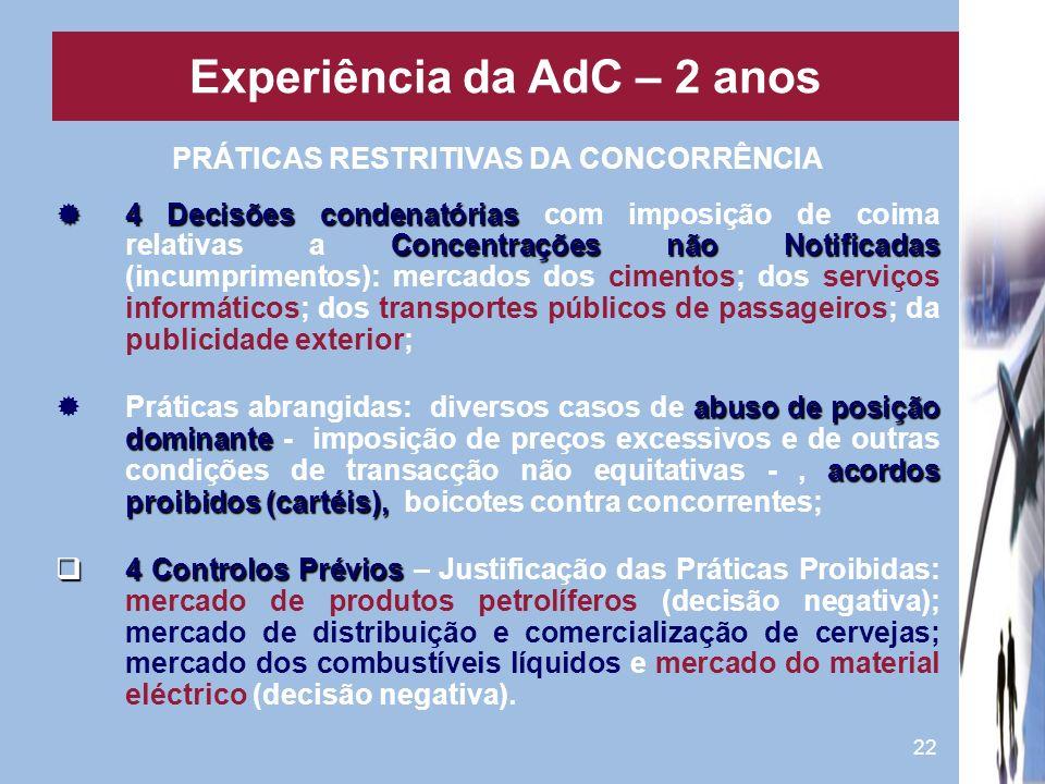 Experiência da AdC – 2 anos PRÁTICAS RESTRITIVAS DA CONCORRÊNCIA