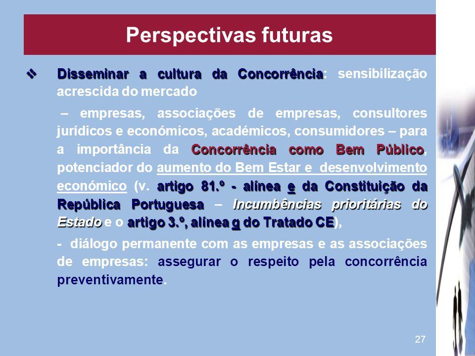 Perspectivas futuras Disseminar a cultura da Concorrência: sensibilização acrescida do mercado.