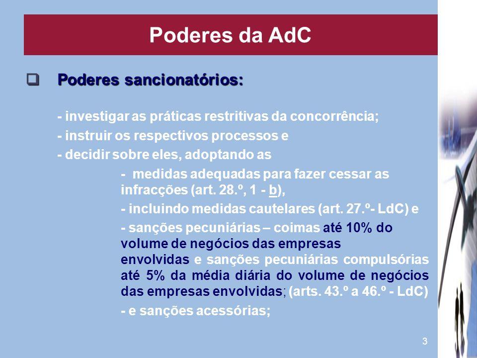 Poderes da AdC Poderes sancionatórios: