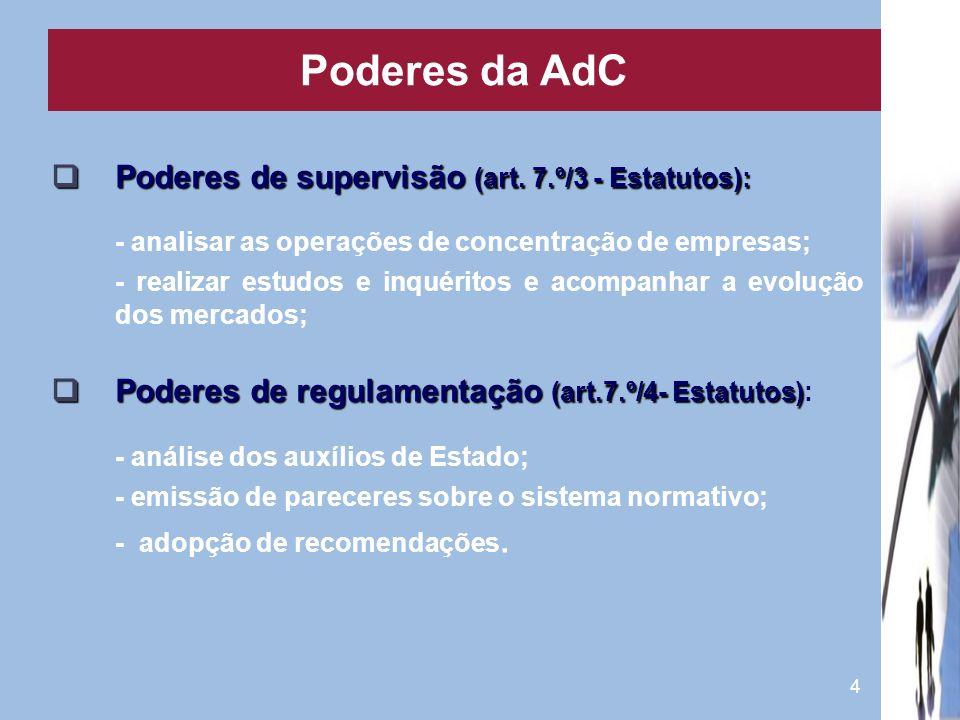 Poderes da AdC Poderes de supervisão (art. 7.º/3 - Estatutos):