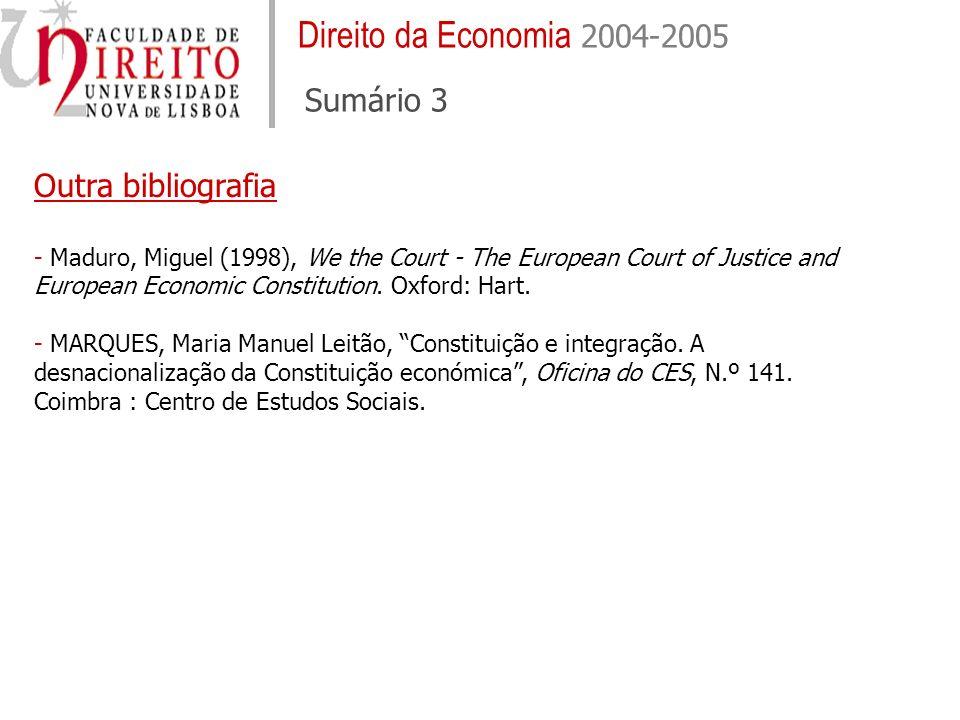 Direito da Economia 2004-2005 Sumário 3
