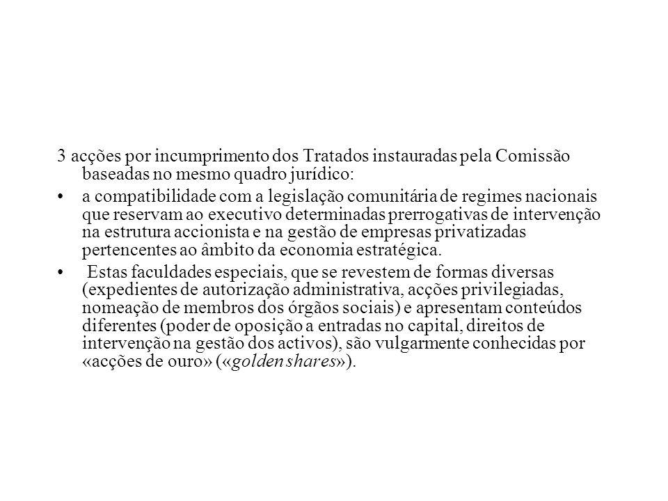 3 acções por incumprimento dos Tratados instauradas pela Comissão baseadas no mesmo quadro jurídico:
