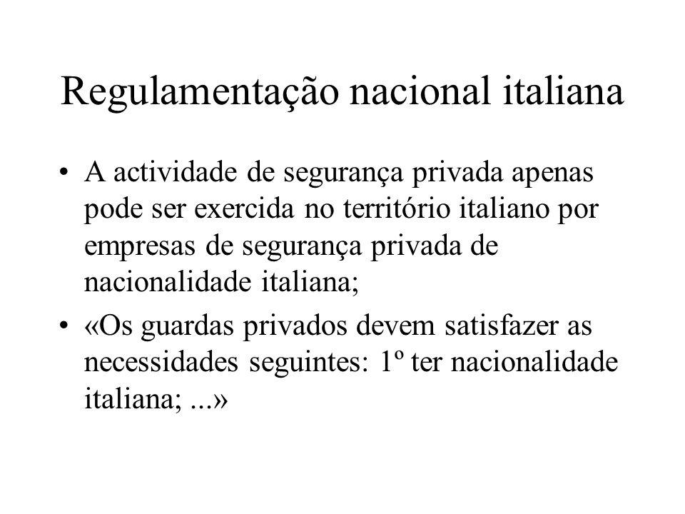 Regulamentação nacional italiana