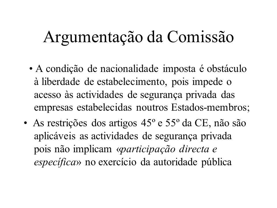 Argumentação da Comissão