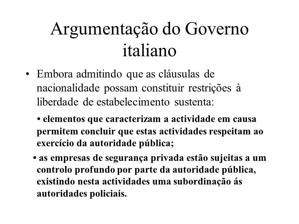 Argumentação do Governo italiano