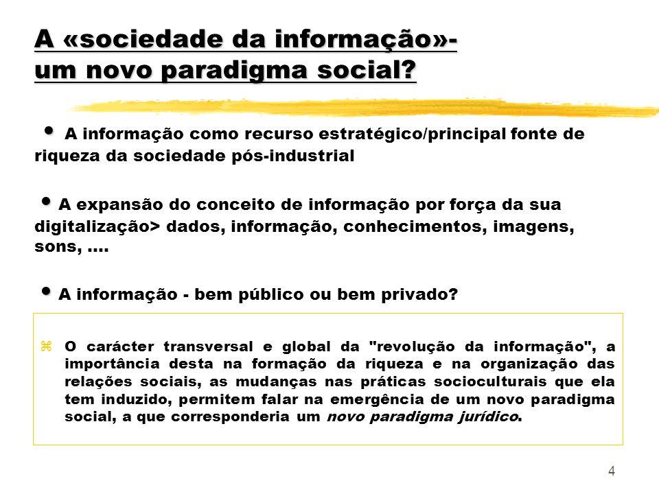 A «sociedade da informação»- um novo paradigma social