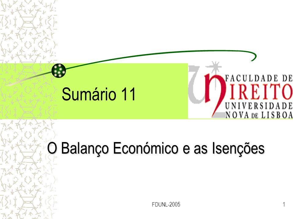 O Balanço Económico e as Isenções