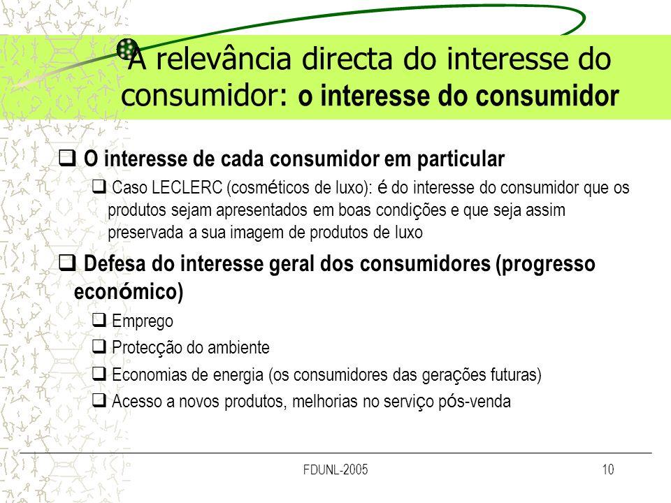 A relevância directa do interesse do consumidor: o interesse do consumidor