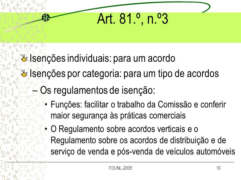 Art. 81.º, n.º3 Isenções individuais: para um acordo