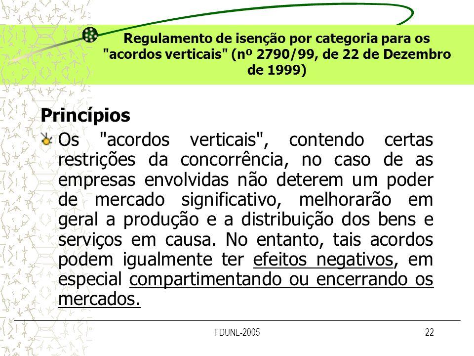 Regulamento de isenção por categoria para os acordos verticais (nº 2790/99, de 22 de Dezembro de 1999)
