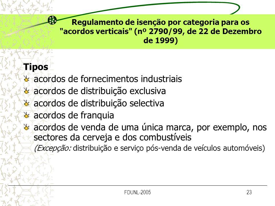 acordos de fornecimentos industriais acordos de distribuição exclusiva