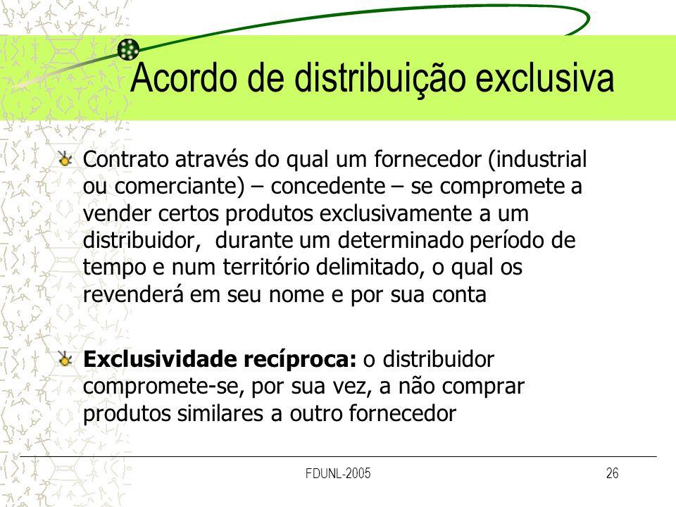 Acordo de distribuição exclusiva