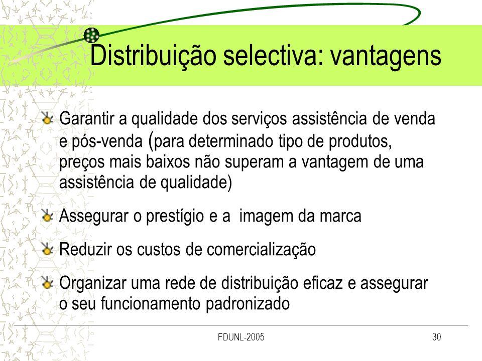 Distribuição selectiva: vantagens