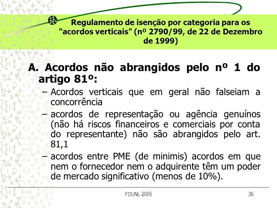 A. Acordos não abrangidos pelo nº 1 do artigo 81º: