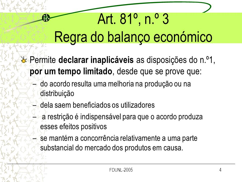 Art. 81º, n.º 3 Regra do balanço económico