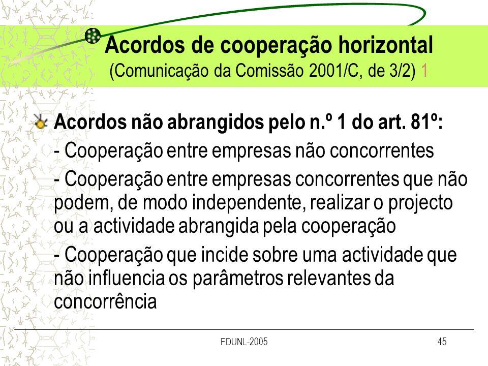 Acordos de cooperação horizontal (Comunicação da Comissão 2001/C, de 3/2) 1