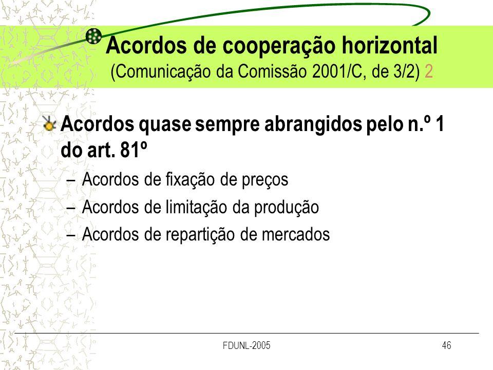 Acordos de cooperação horizontal (Comunicação da Comissão 2001/C, de 3/2) 2