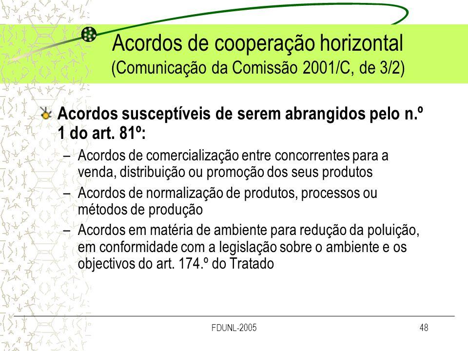 Acordos de cooperação horizontal (Comunicação da Comissão 2001/C, de 3/2)
