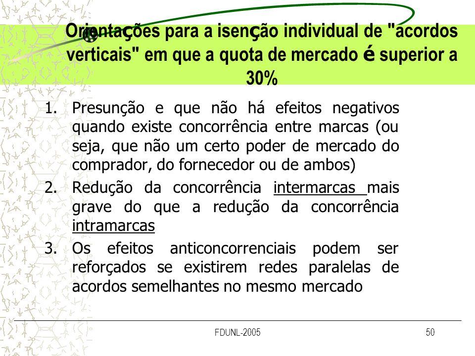 Orientações para a isenção individual de acordos verticais em que a quota de mercado é superior a 30%