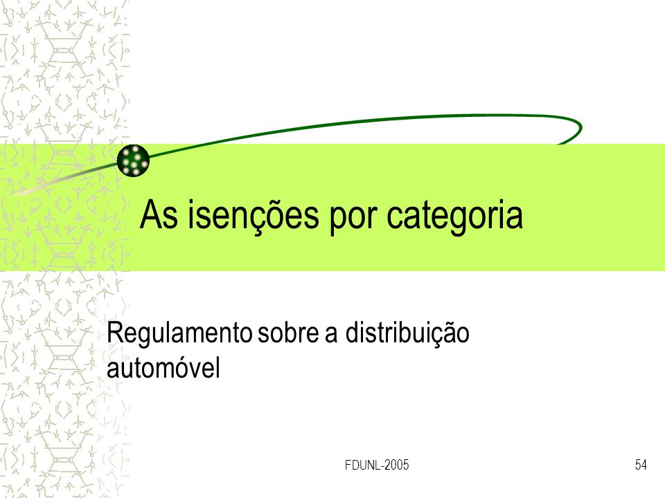 As isenções por categoria
