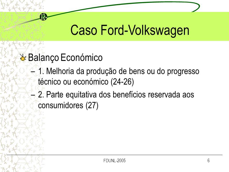 Caso Ford-Volkswagen Balanço Económico