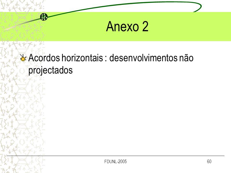 Anexo 2 Acordos horizontais : desenvolvimentos não projectados