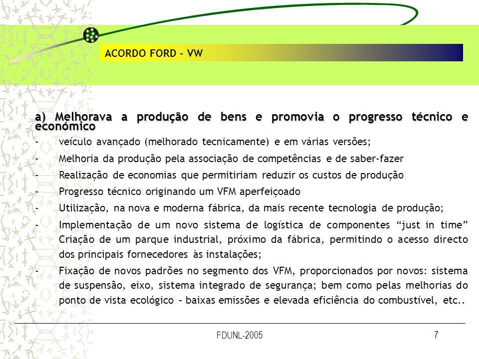 ACORDO FORD - VW a) Melhorava a produção de bens e promovia o progresso técnico e económico.