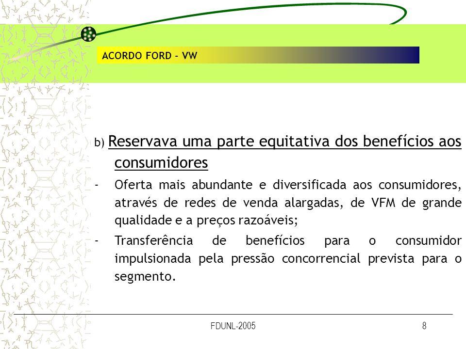 ACORDO FORD - VW b) Reservava uma parte equitativa dos benefícios aos consumidores.