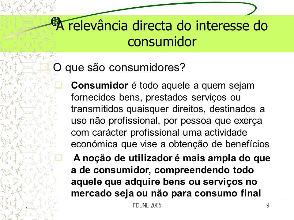 A relevância directa do interesse do consumidor