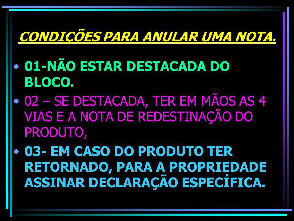 CONDIÇÕES PARA ANULAR UMA NOTA.