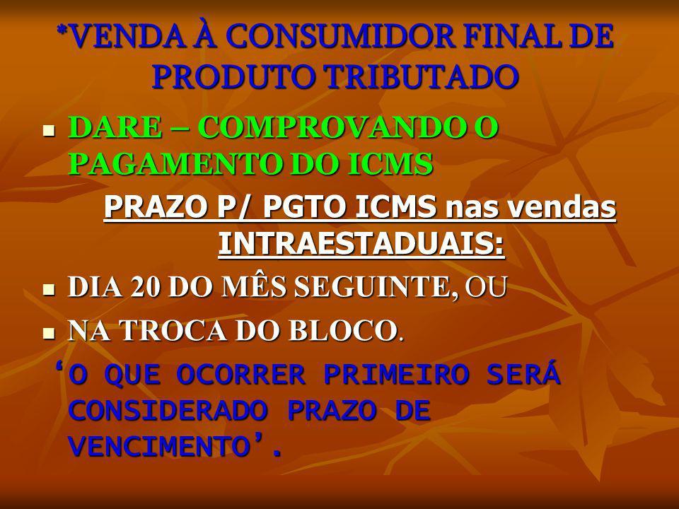 *VENDA À CONSUMIDOR FINAL DE PRODUTO TRIBUTADO
