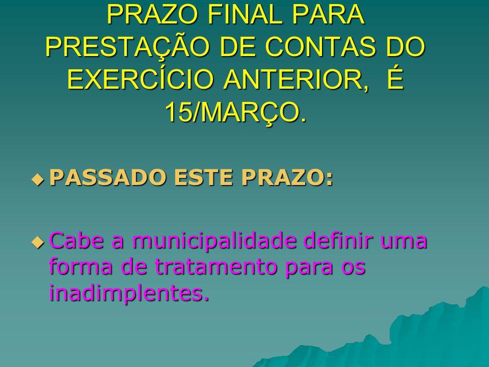 PRAZO FINAL PARA PRESTAÇÃO DE CONTAS DO EXERCÍCIO ANTERIOR, É 15/MARÇO.