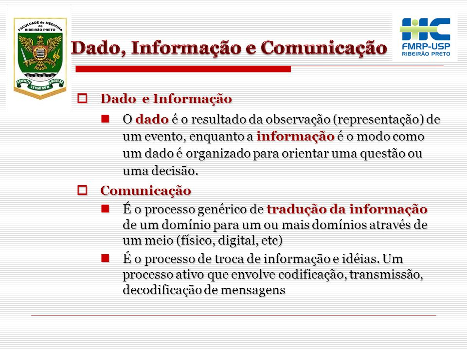 Dado, Informação e Comunicação