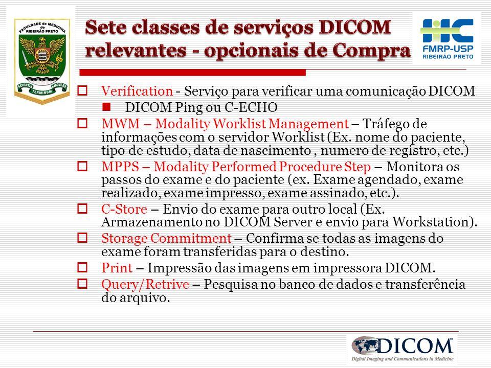Sete classes de serviços DICOM relevantes - opcionais de Compra