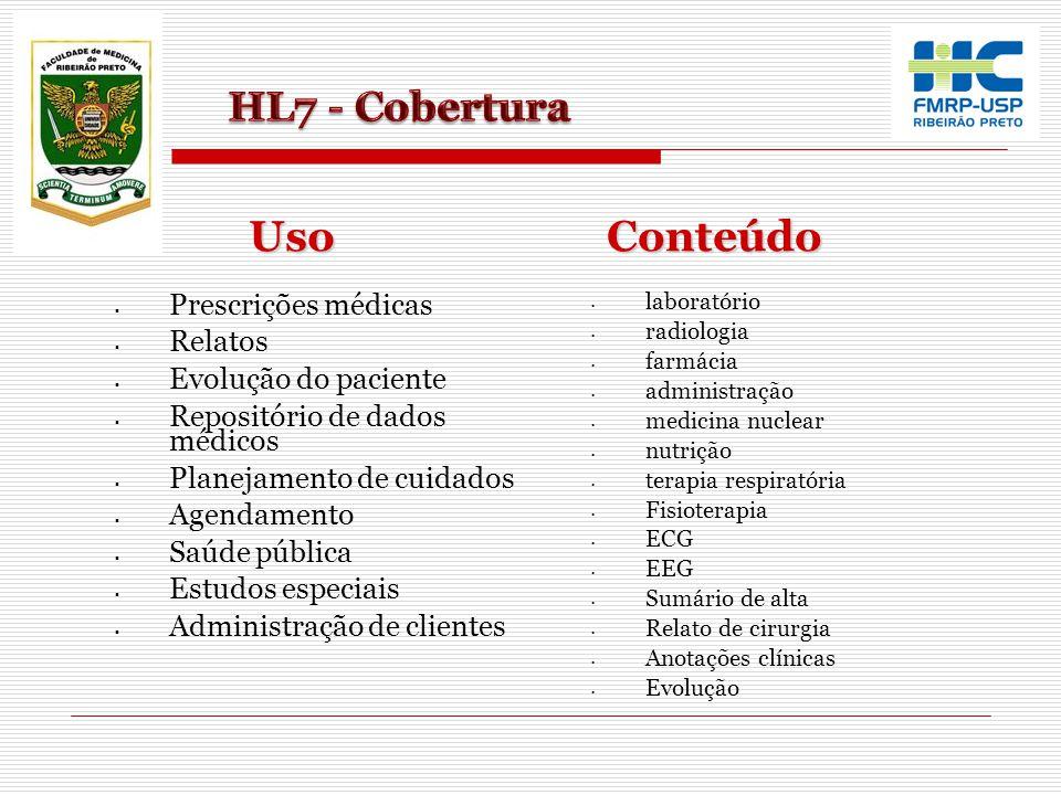 Uso Conteúdo HL7 - Cobertura Prescrições médicas Relatos