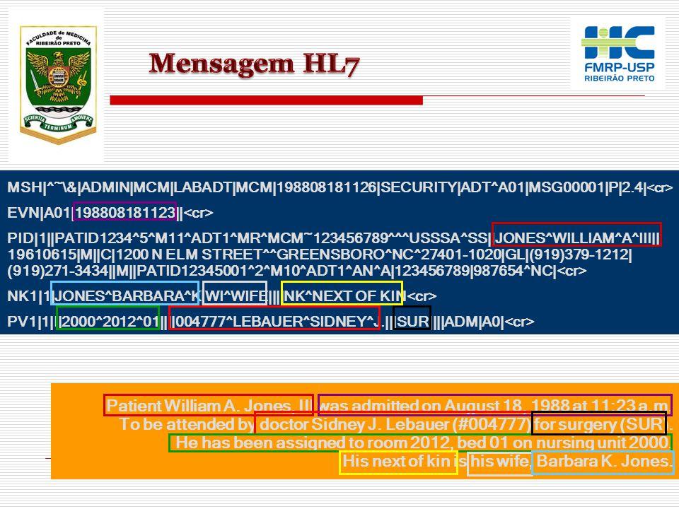 Mensagem HL7 MSH|^~\&|ADMIN|MCM|LABADT|MCM|198808181126|SECURITY|ADT^A01|MSG00001|P|2.4|<cr> EVN|A01|198808181123||<cr>