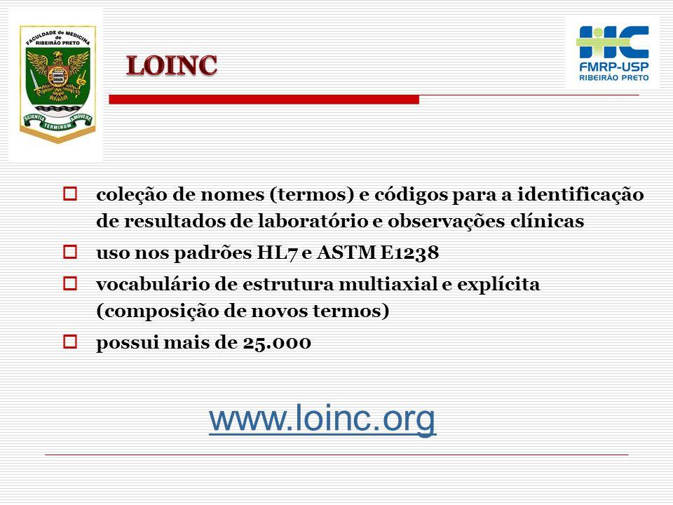 LOINC coleção de nomes (termos) e códigos para a identificação de resultados de laboratório e observações clínicas.