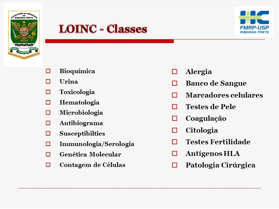 LOINC - Classes Alergia Banco de Sangue Marcadores celulares