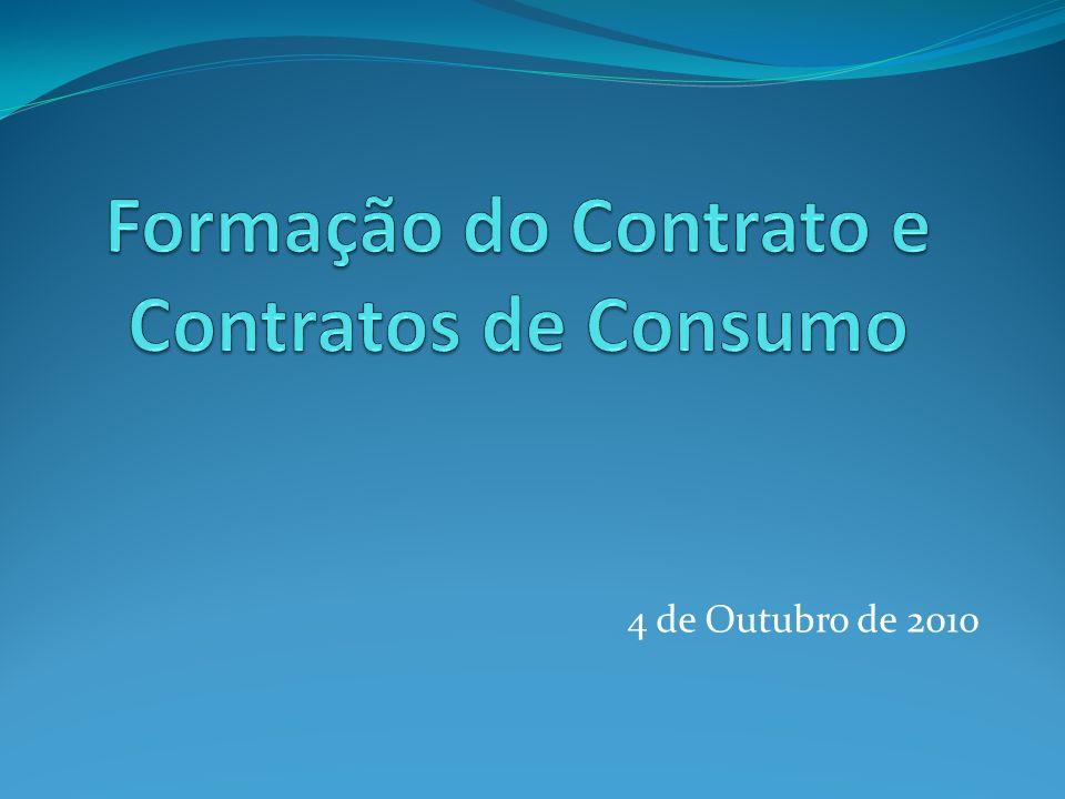 Formação do Contrato e Contratos de Consumo