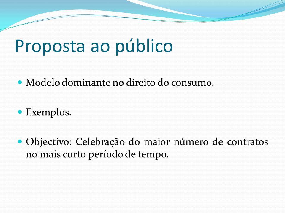 Proposta ao público Modelo dominante no direito do consumo. Exemplos.