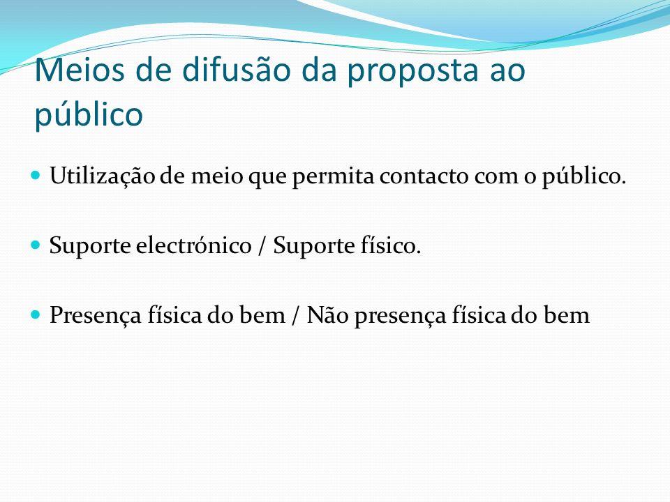 Meios de difusão da proposta ao público