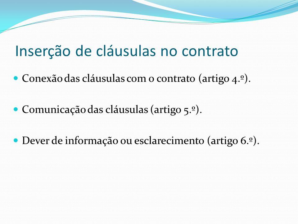 Inserção de cláusulas no contrato